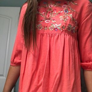 pink desert juniper embroidered top in coral